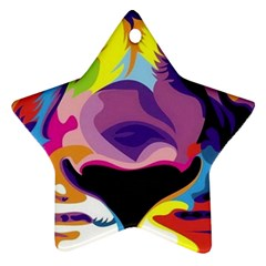 Colorful Lion Star Ornament (two Sides) by Brittlevirginclothing