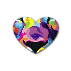 Colorful Lion Rubber Coaster (heart)  by Brittlevirginclothing
