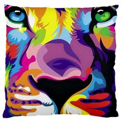 Colorful Lion Large Flano Cushion Case (two Sides) by Brittlevirginclothing
