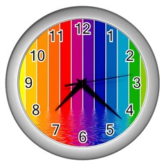 Faded Rainbow  Wall Clocks (silver)  by Brittlevirginclothing