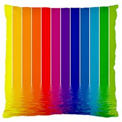 Faded Rainbow  Large Flano Cushion Case (one Side) by Brittlevirginclothing