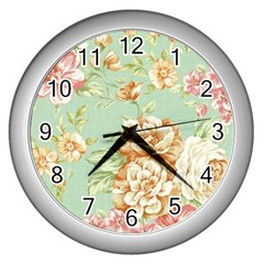 Vintage Pastel Flower Wall Clocks (silver)  by Brittlevirginclothing