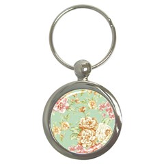 Vintage Pastel Flower Key Chains (round)  by Brittlevirginclothing
