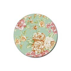 Vintage Pastel Flower Rubber Round Coaster (4 Pack)  by Brittlevirginclothing