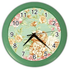 Vintage Pastel Flower Color Wall Clocks by Brittlevirginclothing