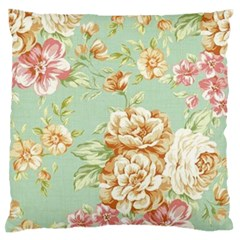 Vintage Pastel Flower Large Flano Cushion Case (two Sides) by Brittlevirginclothing