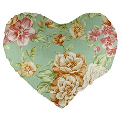 Vintage Pastel Flower Large 19  Premium Flano Heart Shape Cushions by Brittlevirginclothing