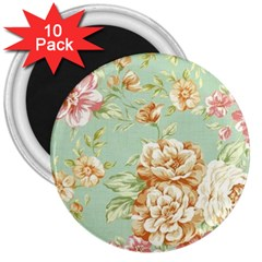 Vintage Pastel Flower 3  Magnets (10 Pack)  by Brittlevirginclothing