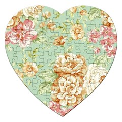 Vintage Pastel Flower Jigsaw Puzzle (heart) by Brittlevirginclothing
