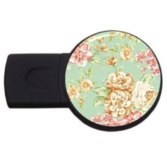 Vintage Pastel Flower Usb Flash Drive Round (4 Gb) by Brittlevirginclothing