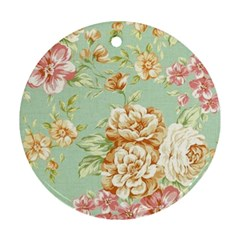 Vintage Pastel Flower Round Ornament (two Sides) by Brittlevirginclothing