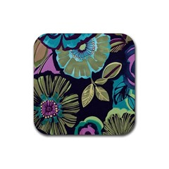 Dark Lila Flower Rubber Coaster (square)  by Brittlevirginclothing