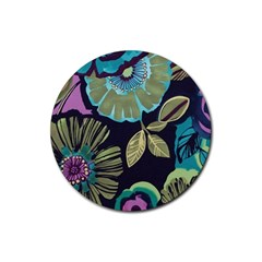 Dark Lila Flower Rubber Coaster (round)  by Brittlevirginclothing