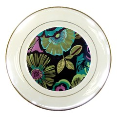 Dark Lila Flower Porcelain Plates by Brittlevirginclothing