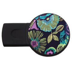 Dark Lila Flower Usb Flash Drive Round (4 Gb) by Brittlevirginclothing