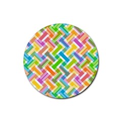 Abstract Pattern Colorful Wallpaper Rubber Round Coaster (4 Pack)  by Amaryn4rt