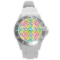 Abstract Pattern Colorful Wallpaper Round Plastic Sport Watch (l) by Amaryn4rt
