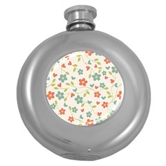 Abstract Vintage Flower Floral Pattern Round Hip Flask (5 Oz) by Amaryn4rt