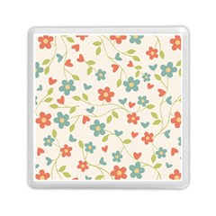 Abstract Vintage Flower Floral Pattern Memory Card Reader (square)  by Amaryn4rt