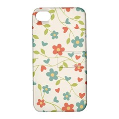 Abstract Vintage Flower Floral Pattern Apple Iphone 4/4s Hardshell Case With Stand by Amaryn4rt