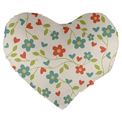 Abstract Vintage Flower Floral Pattern Large 19  Premium Flano Heart Shape Cushions by Amaryn4rt