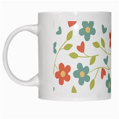 Abstract Vintage Flower Floral Pattern White Mugs