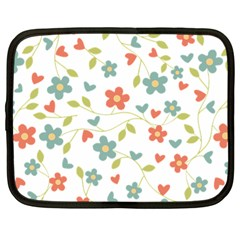 Abstract Vintage Flower Floral Pattern Netbook Case (large) by Amaryn4rt