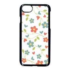 Abstract Vintage Flower Floral Pattern Apple Iphone 7 Seamless Case (black)