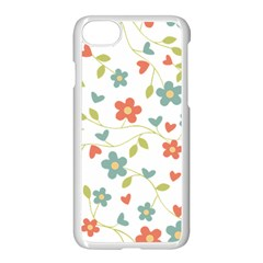 Abstract Vintage Flower Floral Pattern Apple Iphone 7 Seamless Case (white)