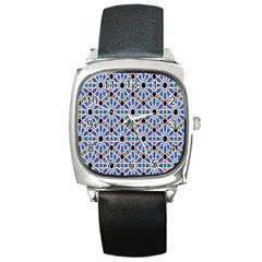 Background Pattern Geometric Square Metal Watch by Amaryn4rt