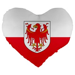 Flag Of South Tyrol Large 19  Premium Heart Shape Cushions by abbeyz71