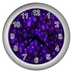 Bokeh Background Texture Stars Wall Clocks (silver)  by Amaryn4rt
