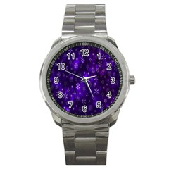 Bokeh Background Texture Stars Sport Metal Watch by Amaryn4rt