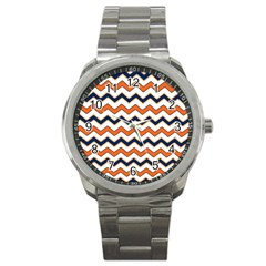 Chevron Party Pattern Stripes Sport Metal Watch by Amaryn4rt