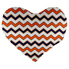 Chevron Party Pattern Stripes Large 19  Premium Flano Heart Shape Cushions