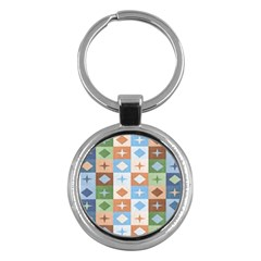 Fabric Textile Textures Cubes Key Chains (round)  by Amaryn4rt