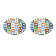 Fabric Textile Textures Cubes Cufflinks (oval) by Amaryn4rt
