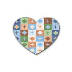 Fabric Textile Textures Cubes Heart Coaster (4 Pack)  by Amaryn4rt