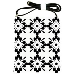 Floral Illustration Black And White Shoulder Sling Bags by Amaryn4rt