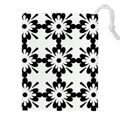 Floral Illustration Black And White Drawstring Pouches (xxl) by Amaryn4rt