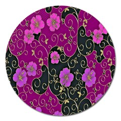 Floral Pattern Background Magnet 5  (round) by Amaryn4rt