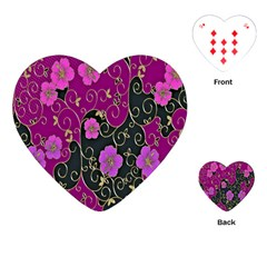 Floral Pattern Background Playing Cards (heart)  by Amaryn4rt