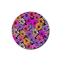 Floral Pattern Rubber Coaster (round)  by Amaryn4rt