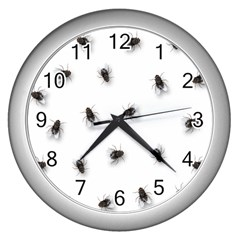 Flies Wall Clocks (silver)  by Valentinaart