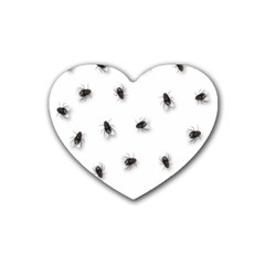 Flies Rubber Coaster (heart)  by Valentinaart