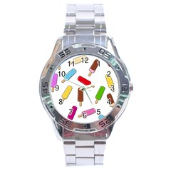 Ice Cream Pattern Stainless Steel Analogue Watch by Valentinaart