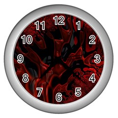 Fractal Red Black Glossy Pattern Decorative Wall Clocks (silver)  by Amaryn4rt