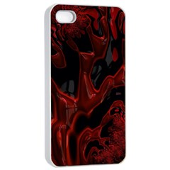 Fractal Red Black Glossy Pattern Decorative Apple Iphone 4/4s Seamless Case (white) by Amaryn4rt