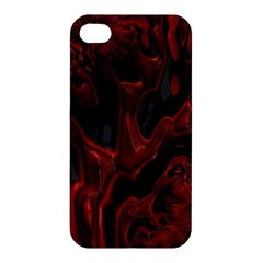 Fractal Red Black Glossy Pattern Decorative Apple Iphone 4/4s Premium Hardshell Case by Amaryn4rt