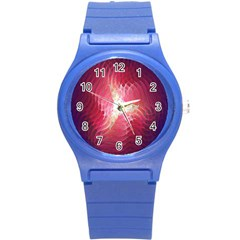 Fractal Red Sample Abstract Pattern Background Round Plastic Sport Watch (s)